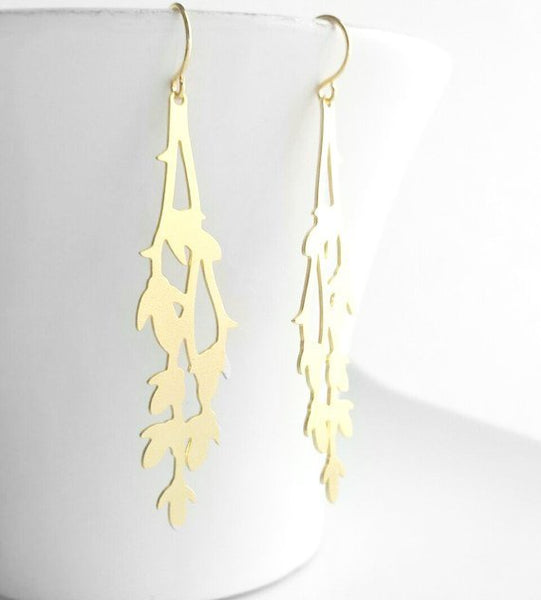 Gold Branch Earrings - long thin leafy tree outline in matte gold plated brass - 14K gold fill upgrade gifts for her under 25 - vine leaves