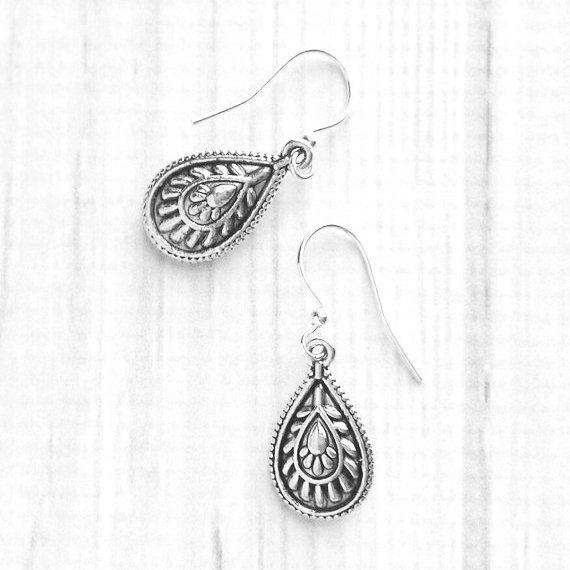 Silver Drop Earring - boho tribal antique finish teardrop dangle - Bohemian Gypsy ethnic style - black ornate detail simple large 3D
