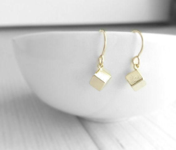 Gold Cube Earrings - tiny square block geometric charm - simple little delicate elegant minimalist everyday style - 14K gold fill small hook