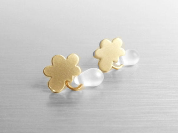 Gold cloud earring w/ tiny little raindrop - .925 sterling silver post - Mini Cumulus Puffs for Rainy Day Weather - sweet fun & minimalist