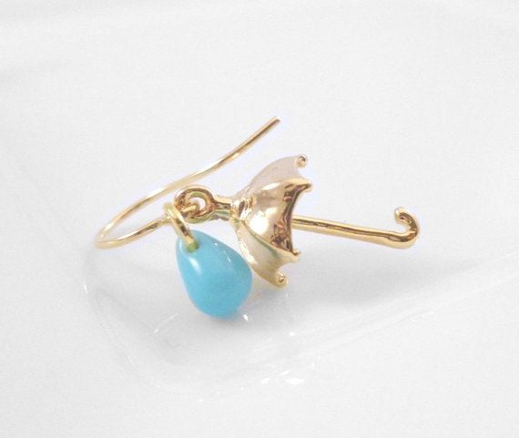 Umbrella Raindrop Earrings - delicate gold tiny charm - small aqua sky blue glass drop - Singing in the Rain - baby shower reveal gift