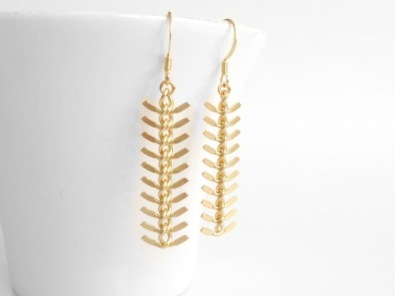 Gold Arrow Earrings - modern chevron / fishbone spine shapes dangle from simple little gold plated ear hooks - long elegant feathered look