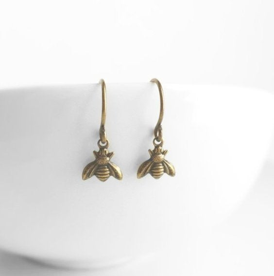 Small Bee Earring - little tiny antique brass / bronze mini bumblebees on delicate matching hooks - minimalist spring honey hive