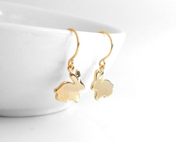 Gold Bunny Earrings - tiny gold rabbit silhouette dangles from small simple ear hooks - small baby bunnies - plain lightweight minimalist