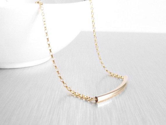 14K Gold Tube Necklace - 14 karat gold filled curved bar / tube and delicate gold filled rolo chain for modern layering or minimalist wear - Constant Baubling