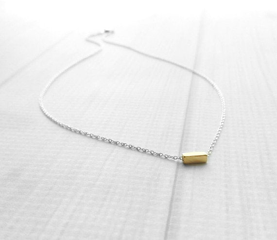 Gold Bar Necklace - .925 sterling silver chain - tiny gold plated brass square tube - simple minimalist delicate mixed metal rectangle line