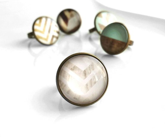 Wood Arrow Ring - white-washed wood chevron pattern photo under domed glass - adjustable antique brass / bronze band - gifts under 20 trendy