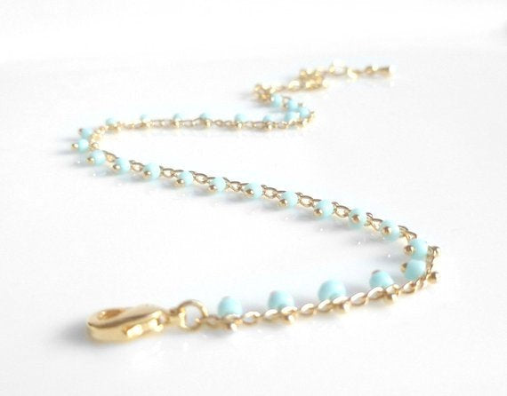 Gold Beaded Bracelet / Anklet - baby blue extra tiny beads - wispy gold adjustable chain - delicate thin minimalist style dainty small gift