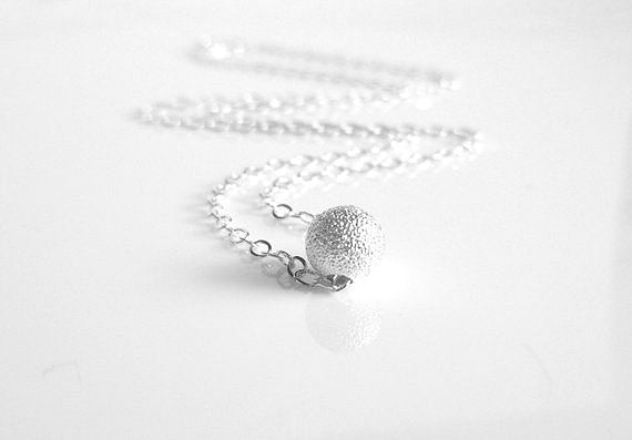 Sterling Silver Ball Necklace - small simple glittering bead slides on a delicate little sterling silver chain - minimalist everyday style
