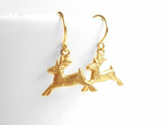 Little Reindeer Earrings - gold plated simple hooks with tiny brass running deer - minimalist everyday winter holiday jewelry Christmas