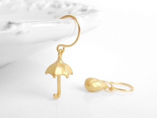 Rainy Day Earrings - little matte gold mismatched fun pair with umbrella and raindrop on simple delicate gold hooks