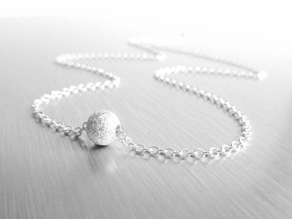 Silver Ball Necklace - simple little tiny rough texture sparkling star dust sphere glitter bead - small delicate chain - Fly Me to the Moon