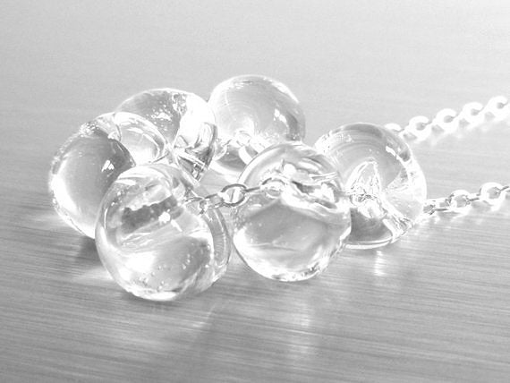 Still Water Necklace - crystal clear glass solid boro lampwork glass teardrops nested on a delicate silver chain - chic simple minimalist wear