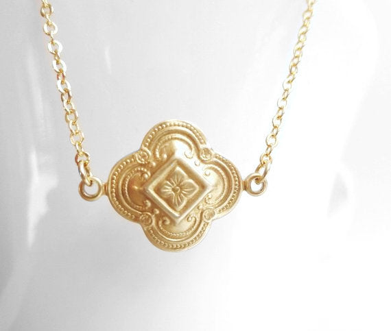 Gold Clover Necklace - small lucky raw brass ornate floral 4 leaf design on a delicate simple little gold plated chain - detailed stamping