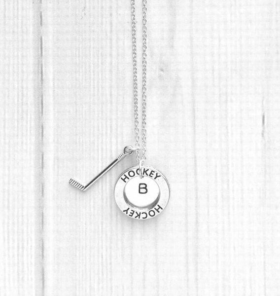 Hockey Necklace - personalized initial letter player pendant disk w/ silver stick charm - coach mom game goal ice skate fan number team gift