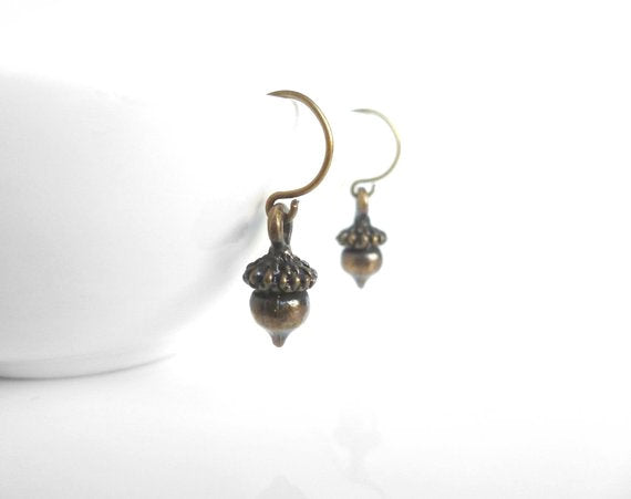 Small Acorn Earrings - little dark antique brass / bronze mini acorns - little delicate simple ear hooks - Minimalist Squirrel Tree Nuts