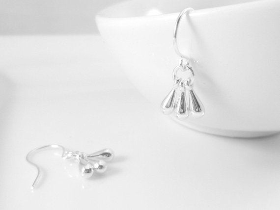 Silver Drop Earrings - tiny tear drop trio of minimalist charms dangle on small silver plated hooks - single little rain Constant Baubling