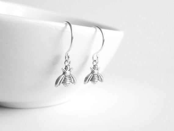 Silver Bee Earring - little tiny antique silver bumblebees on small delicate silver plated hooks - minimalist spring honey hive