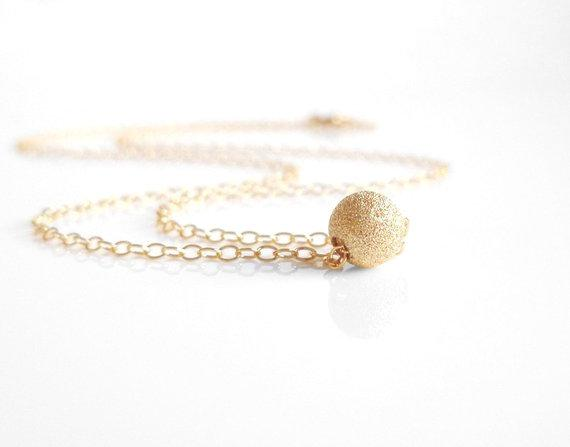 Gold Ball Necklace - 14K gold filled small simple bridal bridesmaid sparkling bead slide - delicate little chain - minimalist everyday style