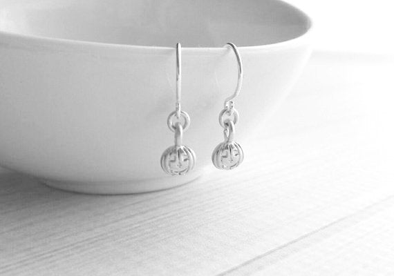 Jack-o-lantern Earrings - little silver pumpkin jack o lantern - fall autumn Halloween accessory - small petite treat gift - tiny minimalist