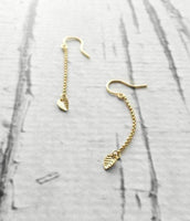Gold Leaf Earring - long chain dangle - simple minimalist small leaves - delicate fine ear hooks - 14K gold fill option - elegant everyday