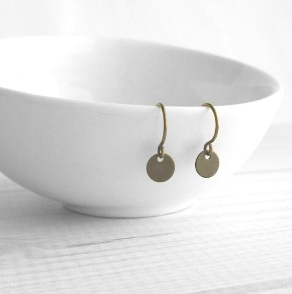 Small Disk Earrings - antique bronze dark brass simple tiny round discs - delicate little mini French hooks - petite minimalist everyday