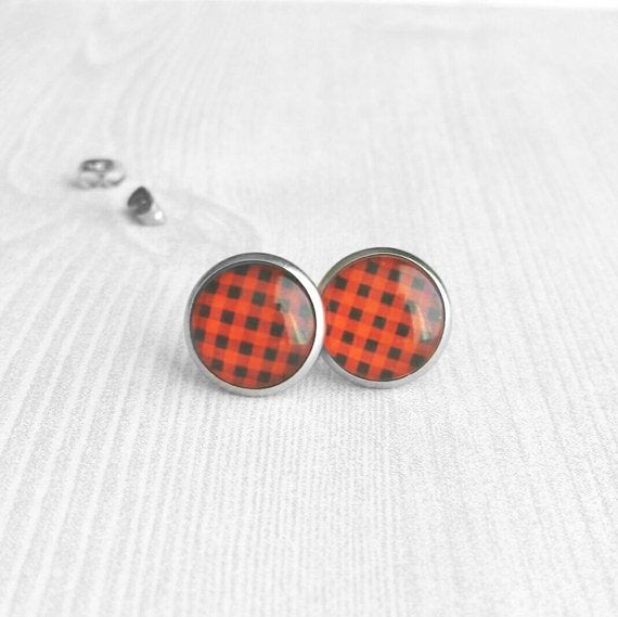 Plaid Earrings - stainless steel hypoallergenic stud - bright red / orange & black check pattern print under glass - winter hunt girl hunter