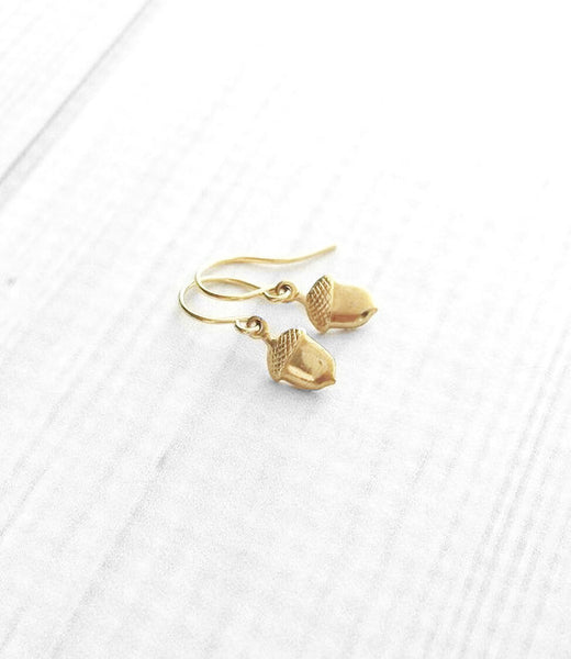 Small Acorn Earrings - little gold brass autumn fall accessories - delicate petite tiny simple plain minimalist dangles - squirrel nuts