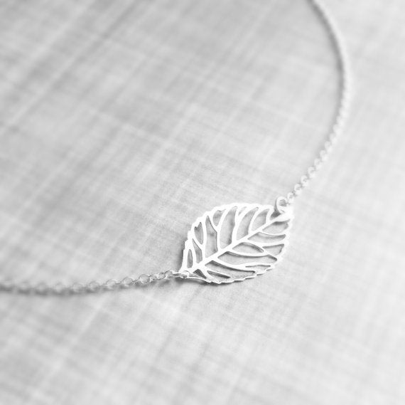 Silver Leaf Necklace - filigree minimalist natural lightweight elegance - modern outline cut out with delicate silver plated thin chain