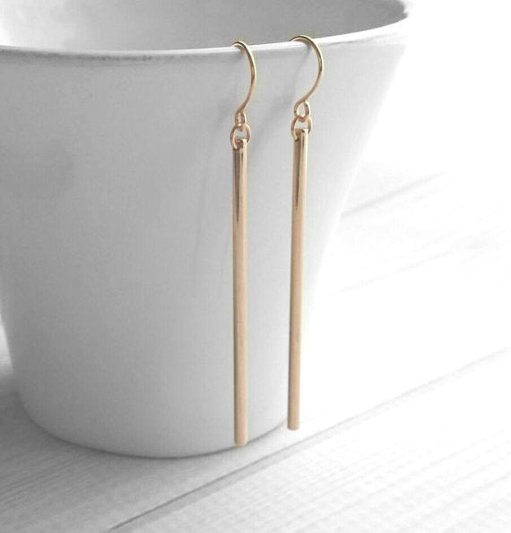 Rose Gold Stick Earrings - long thin straight narrow lines dangle from little simple rose gold hooks - trendy modern minimalist and elegant