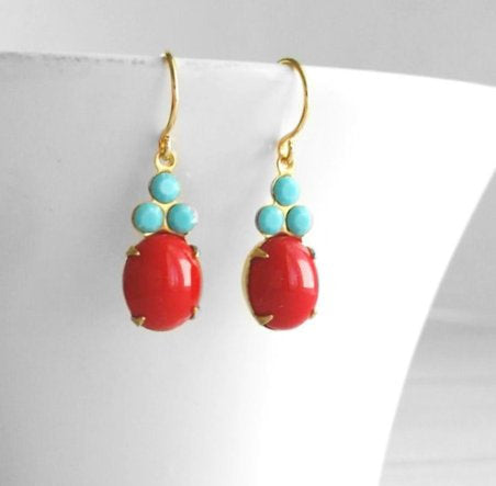 Cherry Red Earrings - Swarovski vintage rhinestones - tiny turquoise blue faceted / small red smooth oval - gold brass setting simple drop