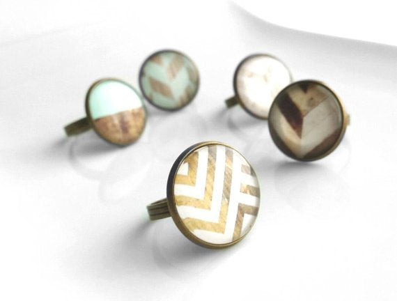 White Wood Ring - chevron zig zag photo under glass - antique brass / bronze adjustable ring size 6 7 8 - round domed trendy gifts under 20