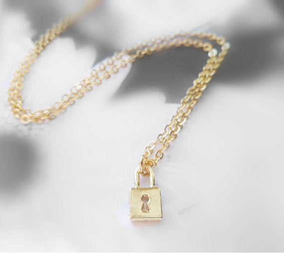 Small Lock Necklace in gold or silver - minimalist teeny tiny simple little padlock charm / commitment promise pendant - Throw Away the Key