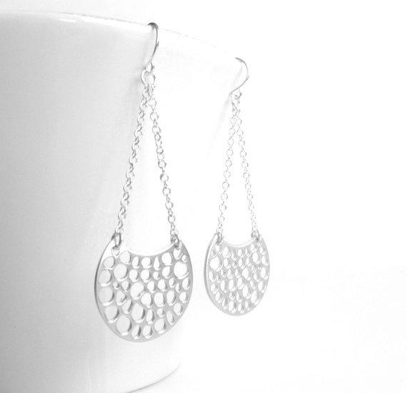 Silver Crescent Earrings - molecular bubbling moon chandelier dangles in matte finish - simple little ear hooks - unique organic filigree