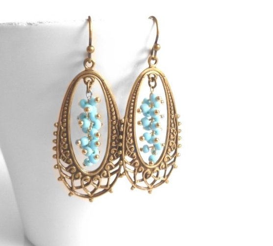 Long Bronze Drop Earring - elongated filigree oval in antique brass / bronze with tiny tiny blue bead cluster center - fancy decorative boho