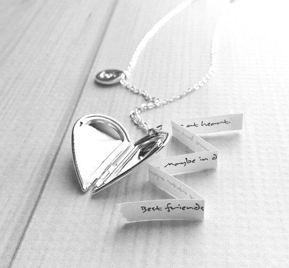 Best Friend Necklace - silver heart locket / quote saying / silver initial letter monogram charm pendant - love gift sister mother daughter