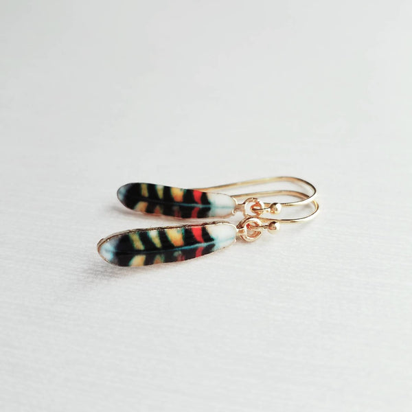 Feather Earrings - gold colorful pattern enamel small charm - little simple feather - red yellow blue black white - dainty earring gift