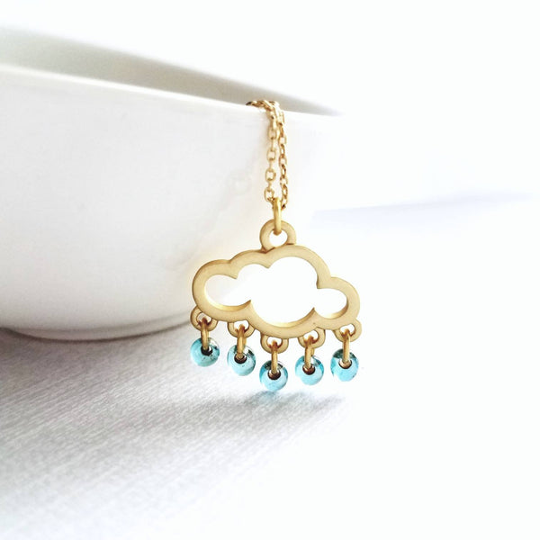 Rain Cloud Necklace - gold outline pendant & tiny blue raindrops - Constant Baubling