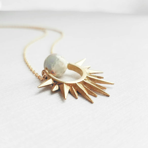 Sun Necklace - gold brass spike rays - blue aqua terra jasper gemstone - marbled genuine semi precious stone - delicate dainty simple gift