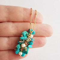 Turquoise Stone Necklace - cluster pebble nuggets - crystal pearl accent charms - delicate beaded 14K gold plated chain - small tiny chunk
