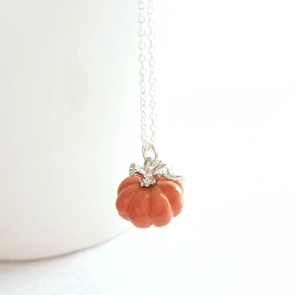 Pumpkin Necklace - tiny little orange Halloween jewelry trick treat gift - October birthday - small fall autumn pendant charm - silver chain