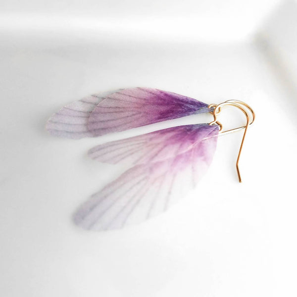 Wing Earrings - purple pink soft double layer - pale lilac ombre delicate gauze translucent - 14K gold fill hooks - faeries fairy butterfly - Constant Baubling