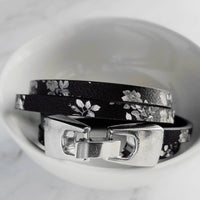 Black Floral Wrap Bracelet - double strand vegan faux leather - grey white - antique silver clasp - thin narrow boho hippie bohemian simple