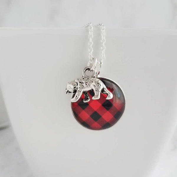 Buffalo Check Necklace - bear charm lodge pendant - red black plaid flannel design - Christmas holiday jewelry stocking stuffer gift for her