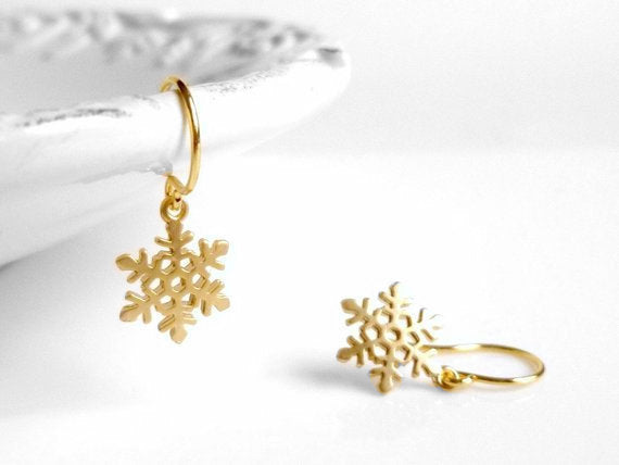 Little Snowflake Earrings - gold plated small flakes with intricate detail on simple gold ear hooks - Cold Winter Weather Christmas holiday