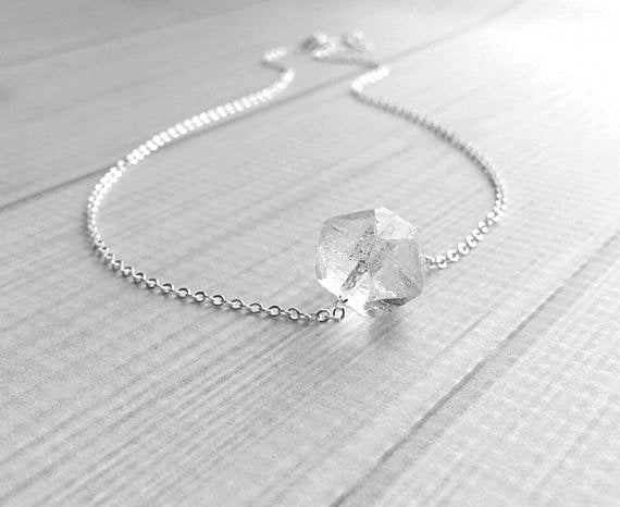 Faux Herkimer Diamond Necklace - ice quartz stone style clear glass faceted slider bead - silver plated chain - winter cool crackled cube