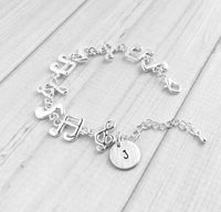 Music Bracelet - silver note pitch charm personalized initial letter - adjustable concert band musician gift - eighth treble clef sixteenth