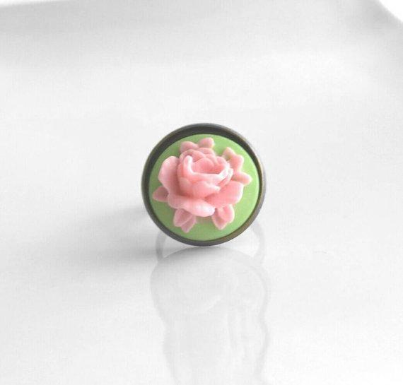 Pink Flower Ring - large cabbage rose open bloom on green adjustable antique brass / bronze band - vintage style 3D resin - size 6 7 8 9
