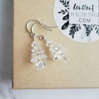 Christmas Earrings - little clear crystal Swarovski trees - elegant stocking stuffer gift under 25 - see through sparkle holiday winter glam