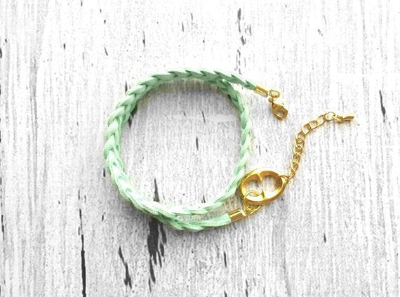 Braided Wrap Bracelet - mint vegan leather faux suede braid & accented w/ gold adjustable clasp - keyhole charm - double wrapped - choker